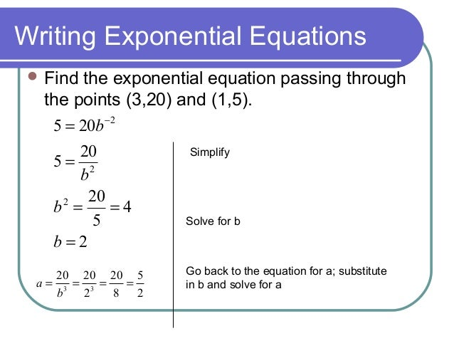 7 Write and Apply Exponential & Power Functions