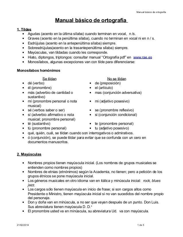 Manual básico de ortografía  Manual básico de ortografía 1. Tildes • Agudas (acento en la última sílaba) cuando terminan e...