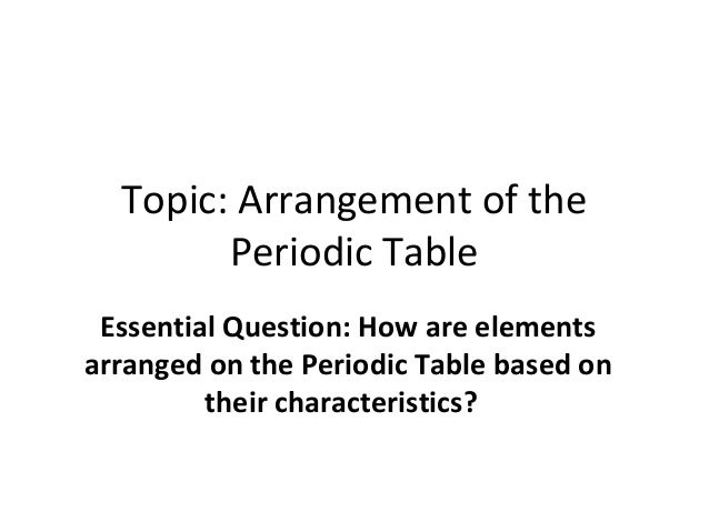 Topic: Arrangement of the Periodic Table Essential Question: How are elements arranged on the Periodic Table based on thei...