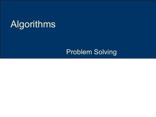 Problem Solving Algorithms
