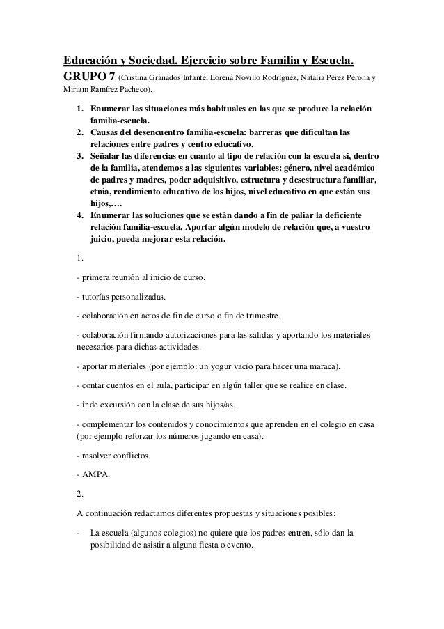 Educación y Sociedad. Ejercicio sobre Familia y Escuela. GRUPO 7 (Cristina Granados Infante, Lorena Novillo Rodríguez, Nat...