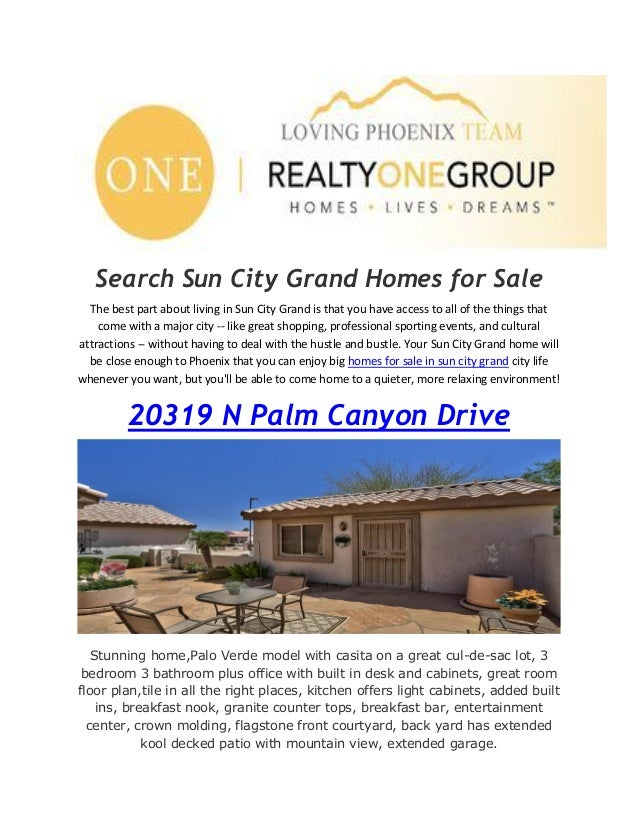 Search Sun City Grand Homes for Sale The best part about living in Sun City Grand is that you have access to all of the th...