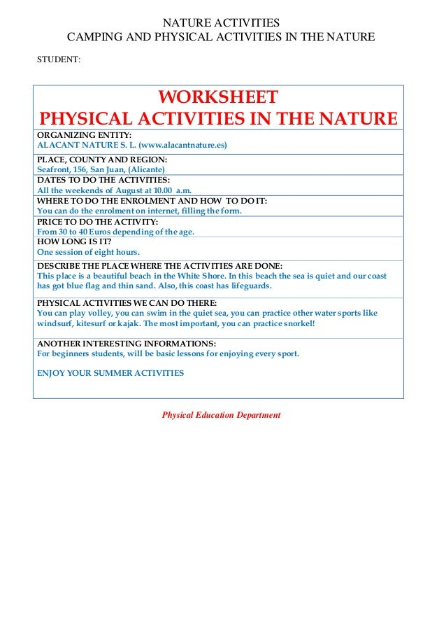 NATURE ACTIVITIES CAMPING AND PHYSICAL ACTIVITIES IN THE NATURE STUDENT: WORKSHEET PHYSICAL ACTIVITIES IN THE NATURE ORGAN...