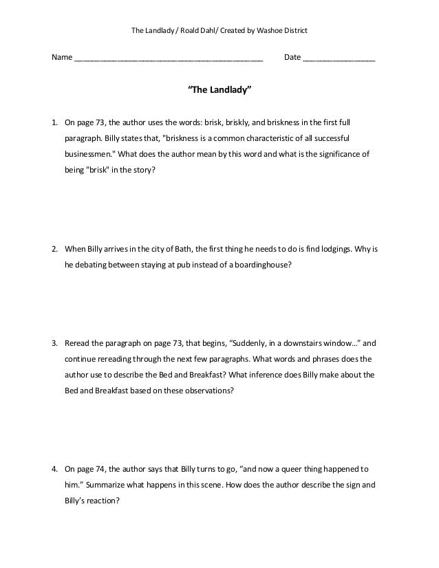 the landlady worksheets worksheets library and the landlady by roald dahl essay acircmiddot landlady