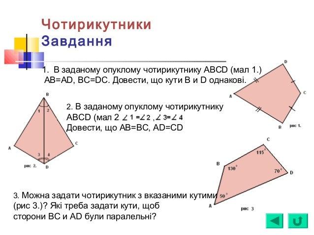 Чотирикутники Завдання 1. В заданому опуклому чотирикутнику ABCD (мал 1.) AB=AD, BC=DC. Довести, що кути B и D однакові. 2...
