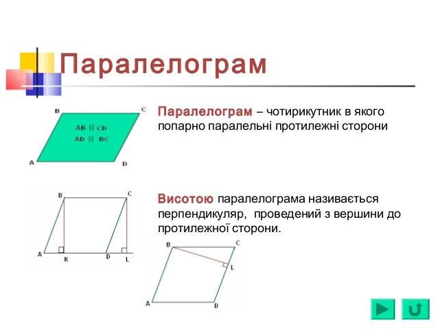 Паралелограм Паралелограм – чотирикутник в якого попарно паралельні протилежні сторони Висотою паралелограма називається п...
