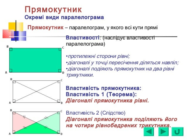 Прямокутник Окремі види паралелограма Властивості: (наслідує властивості паралелограма) •протилежні сторони рівні; •діагон...