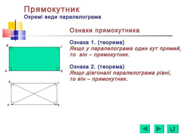 Прямокутник Окремі види паралелограма Ознаки прямокутника Ознака 1. (теорема) Якщо у паралелограма один кут прямий, то він...