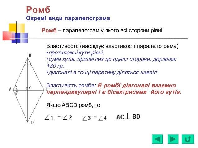 Ромб Окремі види паралелограма Ромб – паралелограм у якого всі сторони рівні Властивості: (наслідує властивості паралелогр...