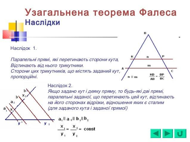 Наслідок 1. Паралельні прямі, які перетинають сторони кута, Відтинають від нього трикутники. Сторони цих трикутників, що м...