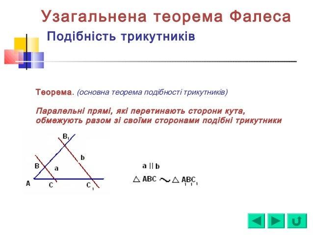 Узагальнена теорема Фалеса Подібність трикутників Теорема. (основна теорема подібності трикутників) Паралельні прямі, які ...