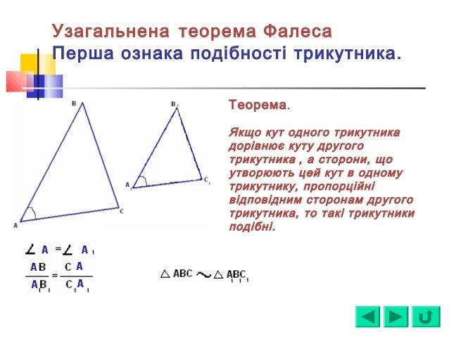 Узагальнена теорема Фалеса Перша ознака подібності трикутника. Теорема. Якщо кут одного трикутника дорівнює куту другого т...