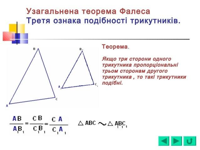 Узагальнена теорема Фалеса Третя ознака подібності трикутників. Теорема. Якщо три сторони одного трикутника пропорціональн...