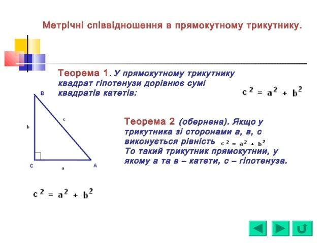 Теорема 1. У прямокутному трикутнику квадрат гіпотенузи дорівнює сумі квадратів катетів: Теорема 2 (обернена). Якщо у трик...