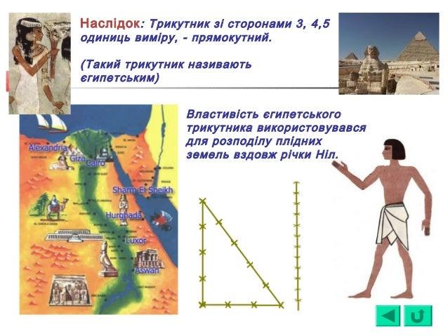 Наслідок: Трикутник зі сторонами 3, 4,5 одиниць виміру, - прямокутний. (Такий трикутник називають єгипетським) Властивість...
