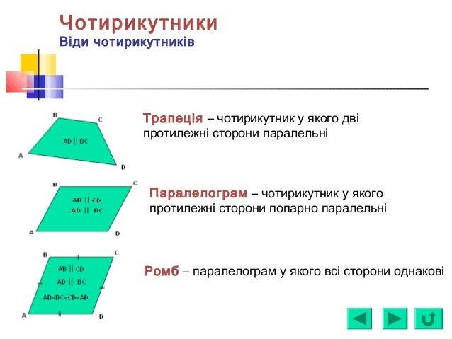 Чотирикутники Віди чотирикутників Трапеція – чотирикутник у якого дві протилежні сторони паралельні Паралелограм – чотирик...
