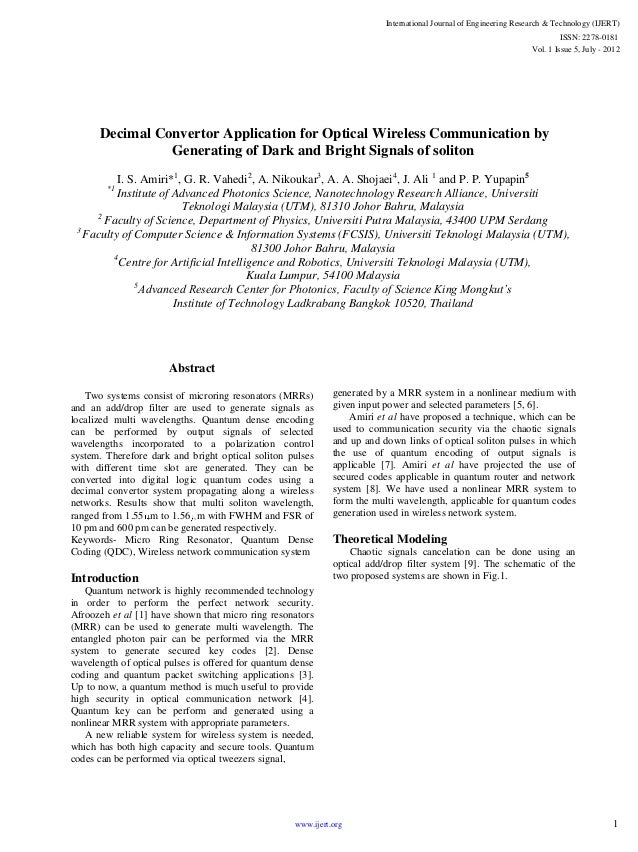 Decimal Convertor Application for Optical Wireless Communication by Generating of Dark and Bright Signals of soliton I. S....