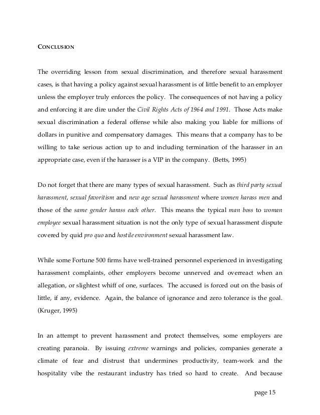 Sexual Harassment in Restaurants