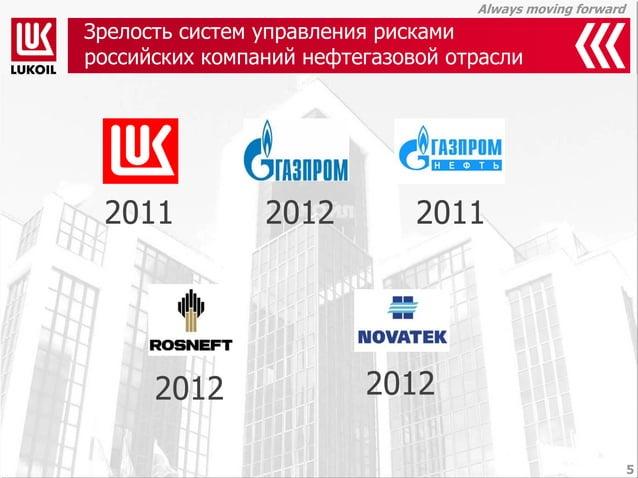 Always moving forward  Зрелость систем управления рисками российских компаний нефтегазовой отрасли  5  2011  2011  2012  2...