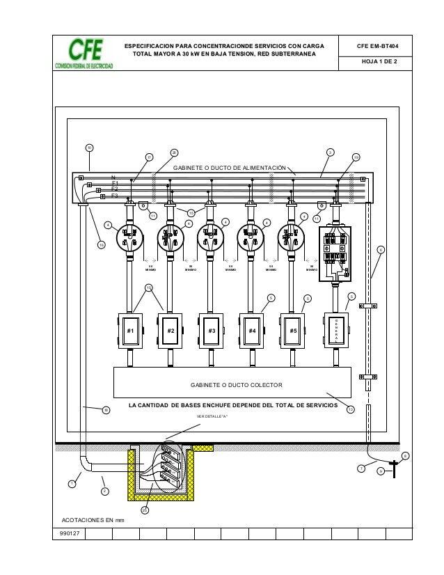 990127  ESPECIFICACION PARA CONCENTRACIONDE SERVICIOS CON CARGA  TOTAL MAYOR A 30 kW EN BAJA TENSION, RED SUBTERRANEA  CFE...