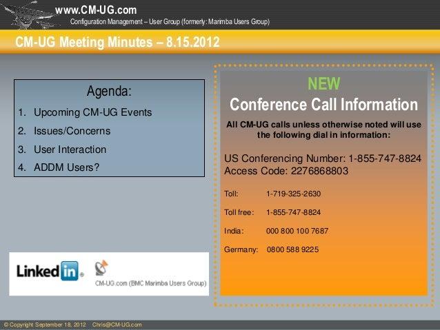 www.CM-UG.com                        Configuration Management – User Group (formerly: Marimba Users Group)    CM-UG Meetin...