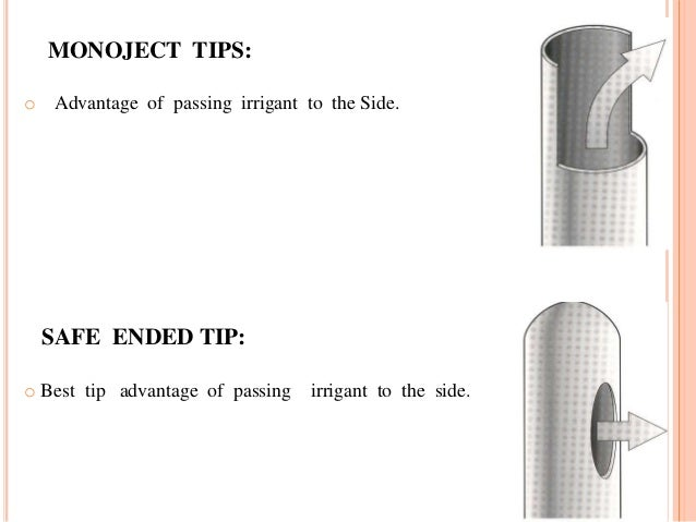 MONOJECT TIPS: o Advantage of passing irrigant to the Side. SAFE ENDED TIP: o Best tip advantage of passing irrigant to th...