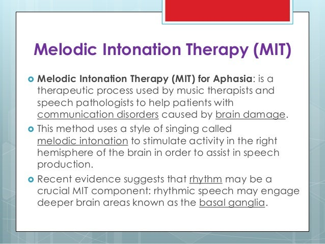 Melodic intonation therapy essay