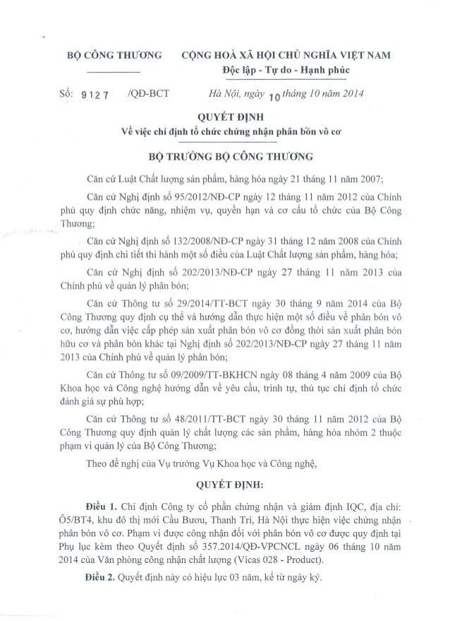 BỘ CÔNG THƯƠNG CỘNG HOÀ XÃ HỘI CHỦ NGHĨA VIỆT NAM Độc lập - Tự do - Hạnh phúc  Số: 912 7 /QĐ-BCT Hà Nội, ngày 10 tháng 10 ...