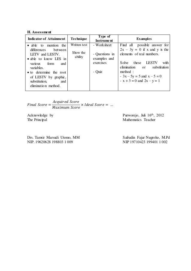8 lesson plan 21 lestv – Elimination Method Worksheet