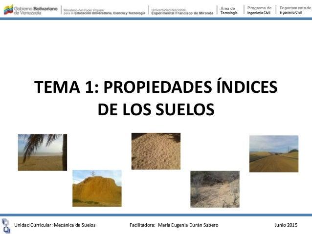 TEMA 1: PROPIEDADES ÍNDICES DE LOS SUELOS Unidad Curricular: Mecánica de Suelos Junio 2015 Área de Tecnología Programa de ...
