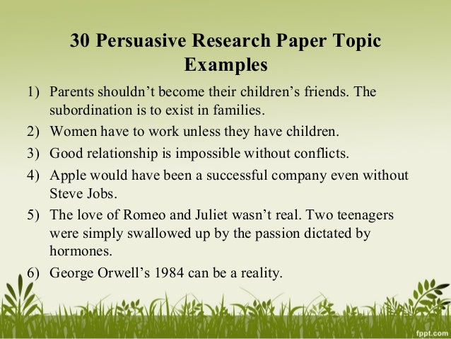 Top 100 Ideas For Research Paper Topics 2018