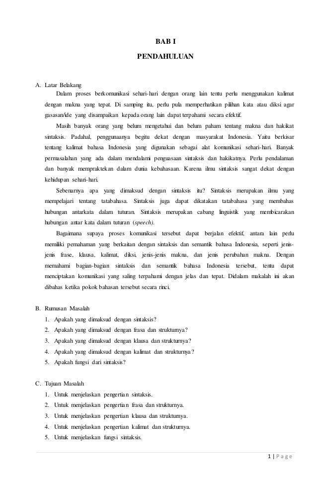 Makalah Sintaksis Bahasa Indonesia