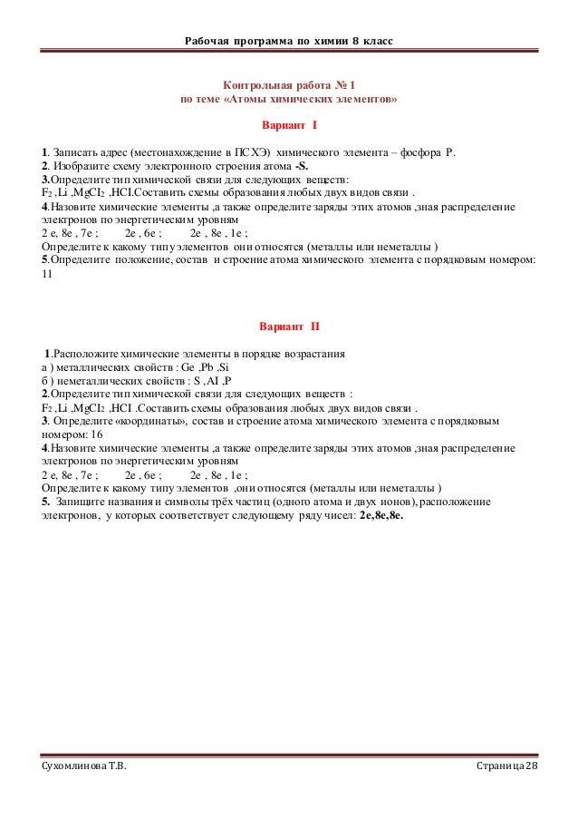 рп по химии класса Простые вещества Сложные вещества Физические явления Химические явления 28 Рабочая программа по химии 8 класс