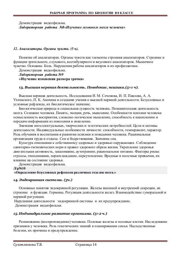 рп по биологии класс Сухомлинова Т В Страница 13 14 РАБОЧАЯ ПРОГРАММА ПО БИОЛОГИИ В 8 КЛАССЕ