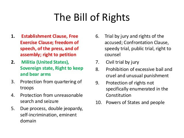 How the bill of rights in the united states constitution ensures civil rights and freedom