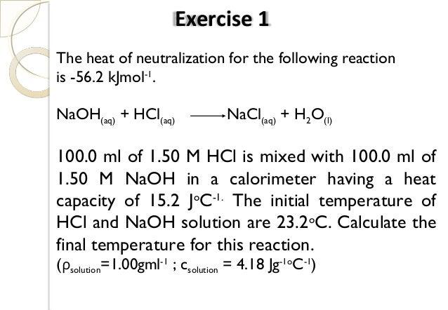 Heat of dissociation of naoh