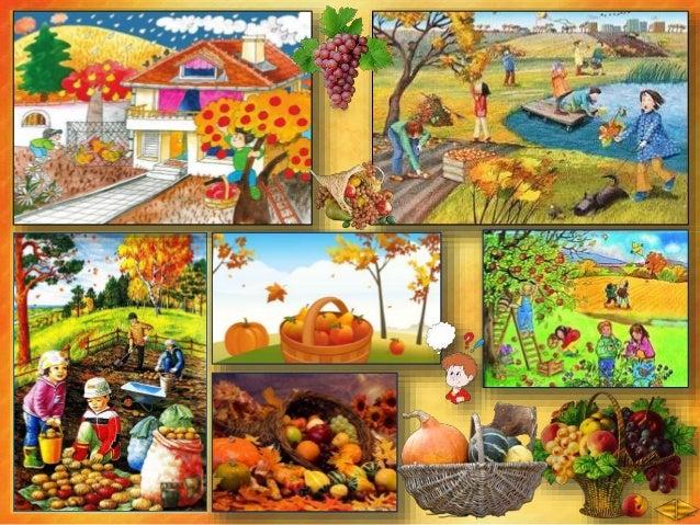 Какви плодове има във фруктиерата? ябълки, круши, сливи, грозде, орехи Хората ги берат през ________.есента Оцветете есенн...
