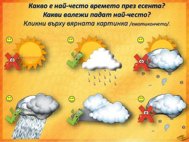 Разкажете: • Какво е времето през есента? • Кои са най-честите валежи? • Какво се случва с: - листата на дърветата; - дъба...