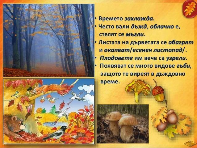 • Какво е характерно за трудовата дейност на хората през есента?Разкажете: