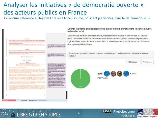 @repcitoyenne #OSSParis Analyser les initiatives « de démocratie ouverte » des acteurs publics en France Ex: aucune référe...