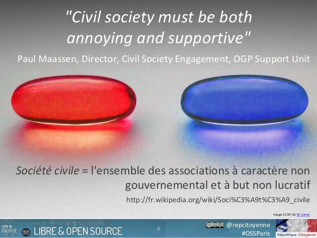 """@repcitoyenne #OSSParis 8 Image CC BY-SA W. Carter """"Civil society must be both annoying and supportive"""" Paul Maassen, Dire..."""