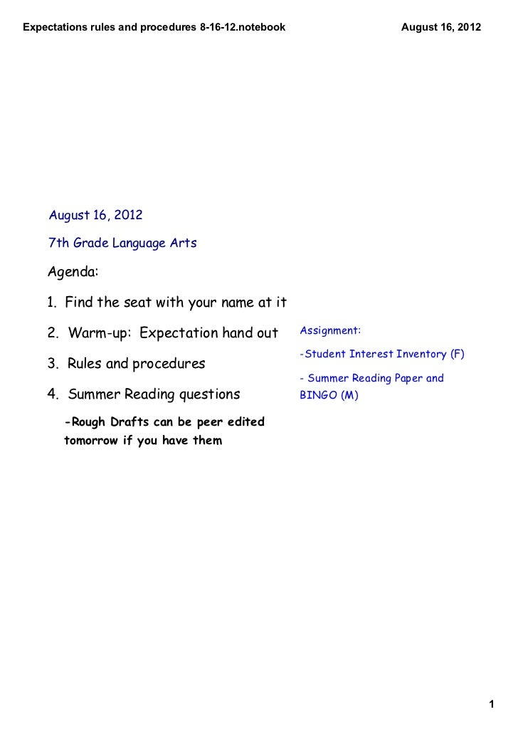 Expectations rules and procedures 8­16­12.notebook                      August 16, 2012    August 16, 2012    7th Grade La...