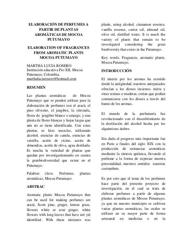 ELABORACIÓN DE PERFUMES A PARTIR DE PLANTAS AROMÁTICAS DE MOCOA PUTUMAYO ELABORATION OF FRAGRANCES FROM AROMATIC PLANTS MO...
