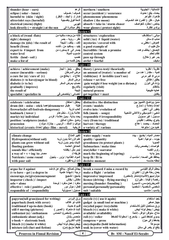 4Progress in Finnal Revision By SM : Nassif El-Segahy thunder (hear – ears) اﻟﺮﻋﺪ northern / southern اﻟﺸﻤﺎﻟﻴﺔاﻟ...