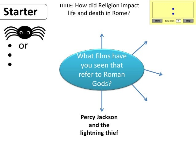 TITLE: How did Religion impact life and death in Rome? What films have you seen that refer to Roman Gods? Starter Percy Ja...