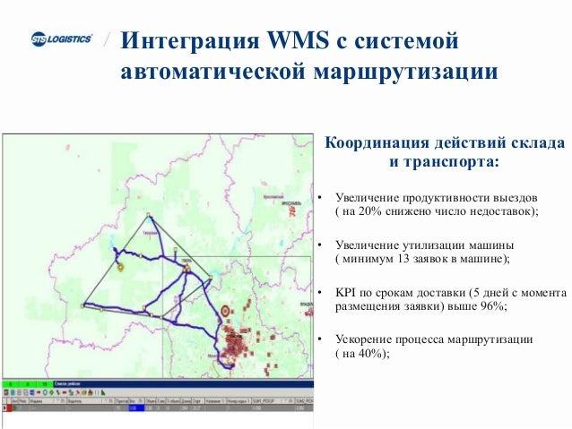 Интеграция WMS с системой автоматической маршрутизации Координация действий склада и транспорта: • Увеличение продуктивнос...