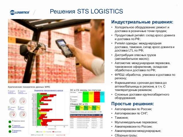 Решения STS LOGISTICS Индустриальные решения: • Холодильное оборудование: ремонт и доставка в розничные точки продаж; • Пр...