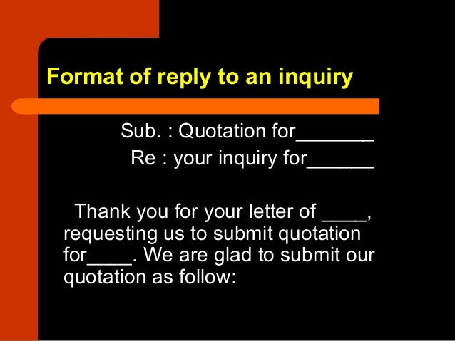 format of reply