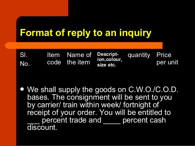 8 letter of reply to an inquiry 7 format of reply to an inquiry thecheapjerseys Image collections