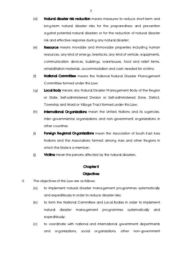 Natural disaster management law Slide 2